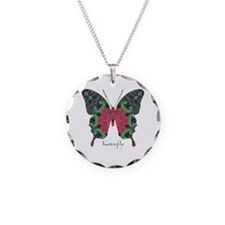 Yule Butterfly Necklace Circle Charm
