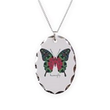 Yule Butterfly Necklace Oval Charm