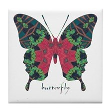 Yule Butterfly Tile Coaster