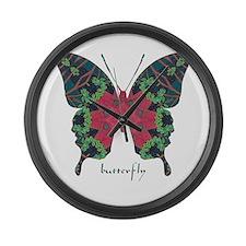 Yule Butterfly Large Wall Clock