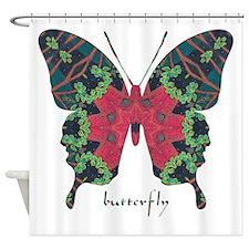 Yule Butterfly Shower Curtain