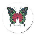 Yule Butterfly Round Car Magnet
