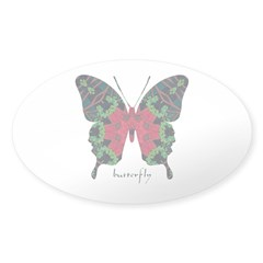 Yule Butterfly Sticker (Oval)