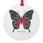 Yule Butterfly Round Ornament