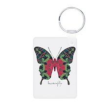 Yule Butterfly Aluminum Photo Keychain