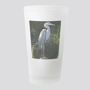 Blue Heron facing right pil Frosted Drinking Glass