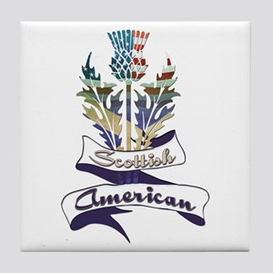 Scottish American Thistle Tile Coaster