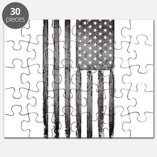 American flag Gray Grunge Puzzle