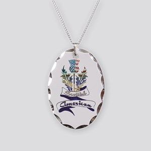 Scottish American Thistle Necklace Oval Charm