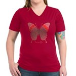 Sesame Butterfly Women's V-Neck Dark T-Shirt