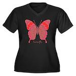 Sesame Butterfly Women's Plus Size V-Neck Dark T-S