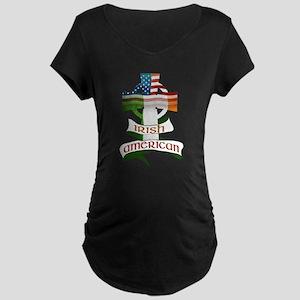 Irish American Celtic Cross Maternity Dark T-Shirt
