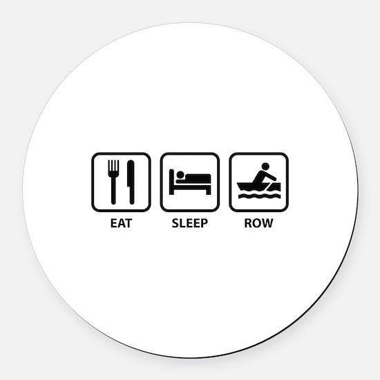 Eat Sleep Row Round Car Magnet