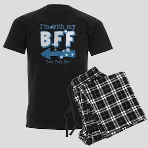 CUSTOM TEXT Im With My BFF Men's Dark Pajamas