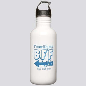 CUSTOM TEXT Im With My BFF Stainless Water Bottle