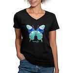 Bliss Butterfly Women's V-Neck Dark T-Shirt