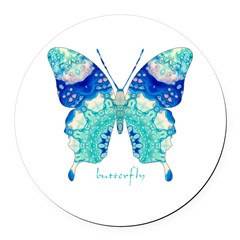 Bliss Butterfly Round Car Magnet