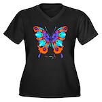 Xtreme Butterfly Women's Plus Size V-Neck Dark T-S