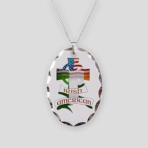 Irish American Celtic Cross Necklace Oval Charm