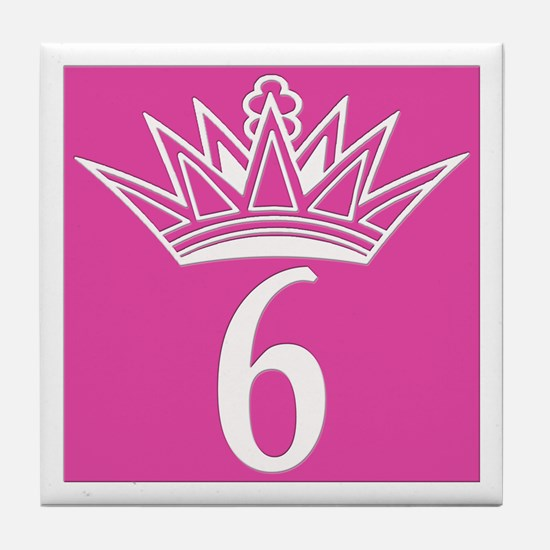 6 Number Six Pink Princess Tile Coaster