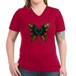 Power Butterfly Women's V-Neck Dark T-Shirt