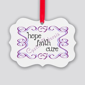 CF Hope Faith Cure Curls Picture Ornament
