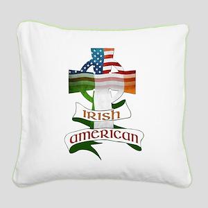 Irish American Celtic Cross Square Canvas Pillow