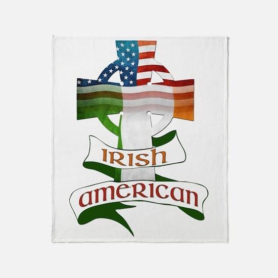 Irish American Celtic Cross Throw Blanket