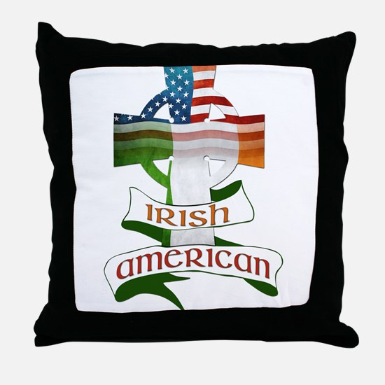 Irish American Celtic Cross Throw Pillow