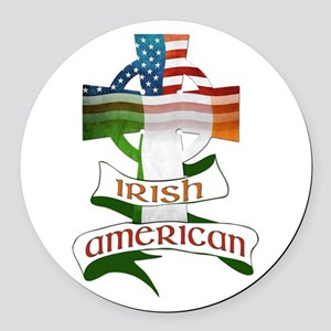 Irish American Celtic Cross Round Car Magnet
