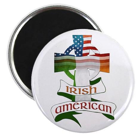 "Irish American Celtic Cross 2.25"" Magnet (100"