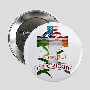 "Irish American Celtic Cross 2.25"" Button"