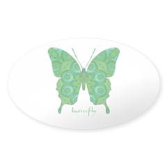Christmas Butterfly Sticker (Oval)