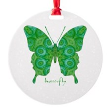 Christmas Butterfly Round Ornament