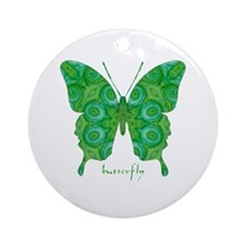 Christmas Butterfly Ornament (Round)
