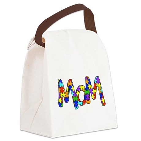 Mom Autism Awareness Canvas Lunch Bag