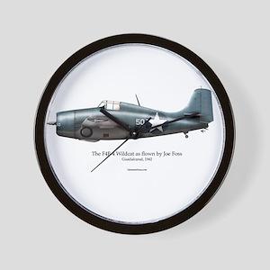 The F4F Wildcat of Joe Foss Wall Clock