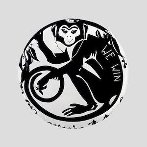 """Laughing Monkey Burning Man Logo 2012 3.5"""" Button"""
