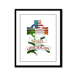 Irish American Celtic Cross Framed Panel Print
