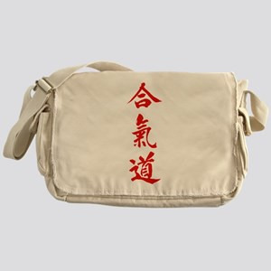 Aikido red in Japanese calligraphy Messenger Bag