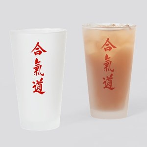 Aikido red in Japanese calligraphy Drinking Glass