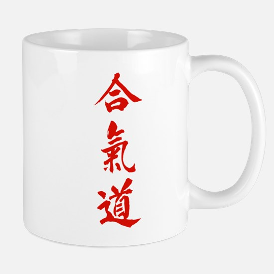 Aikido red in Japanese calligraphy Mug