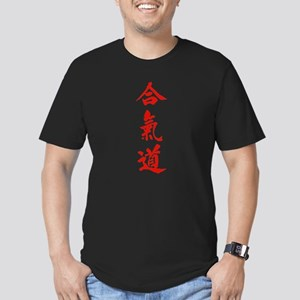 Aikido red in Japanese calligraphy Men's Fitted T-