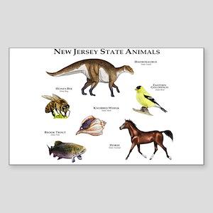 New Jersey State Animals Sticker (Rectangle)