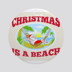 Santa Claus Father Christmas Beach Relaxing Orname