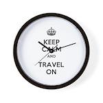 Keep Calm Travel On Wall Clock