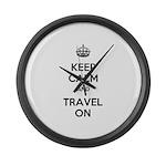 Keep Calm Travel On Large Wall Clock