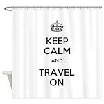 Keep Calm Travel On Shower Curtain