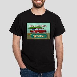 Retro Christmas Tree Station Wagon Dark T-Shirt