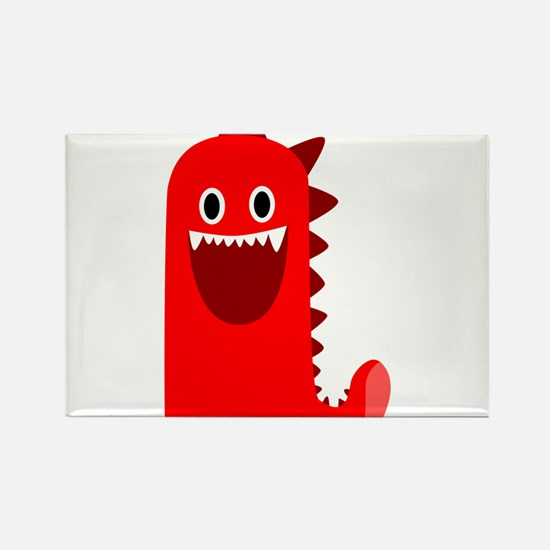 Red Monster Rectangle Magnet